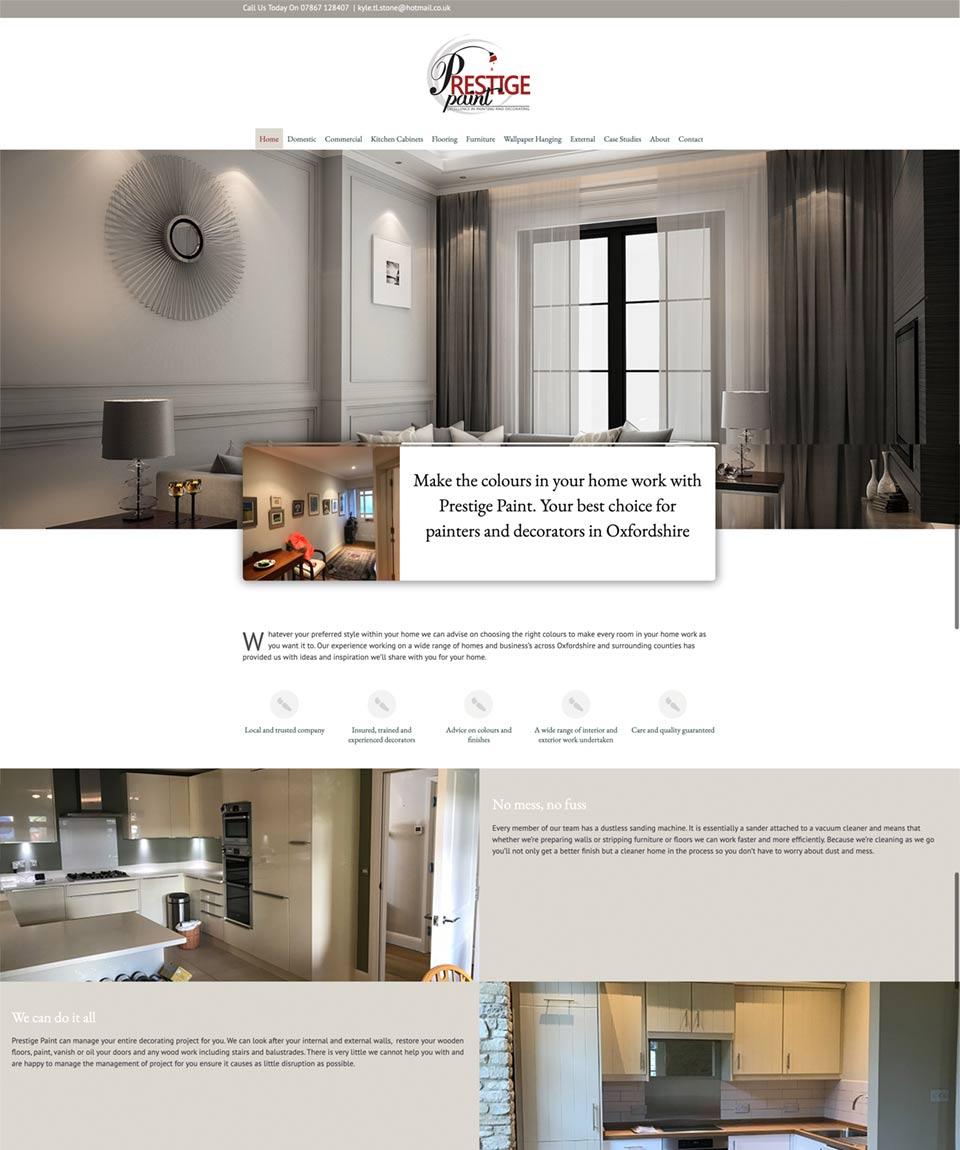 Prestige Paint Website Designed by Oxfordshire Web Services